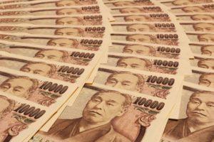 一万円札(諭吉)が大量に並んでいる